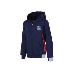 Sweatshirt child PSG zip logo stripes